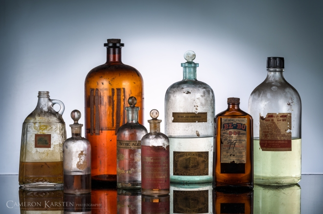 Toxic bottles, liquid photography