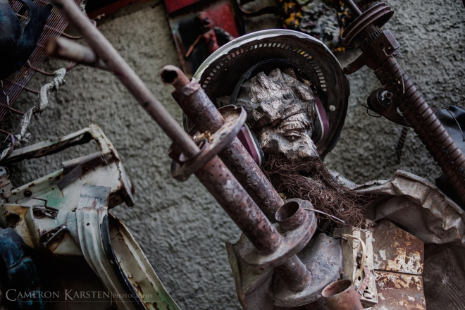 A sculpture of Osama bin Laden from recycled bits by André Eugène, founder of Atis Rezistans on Grand Rue in downtown Port-au-Prince, Haiti.