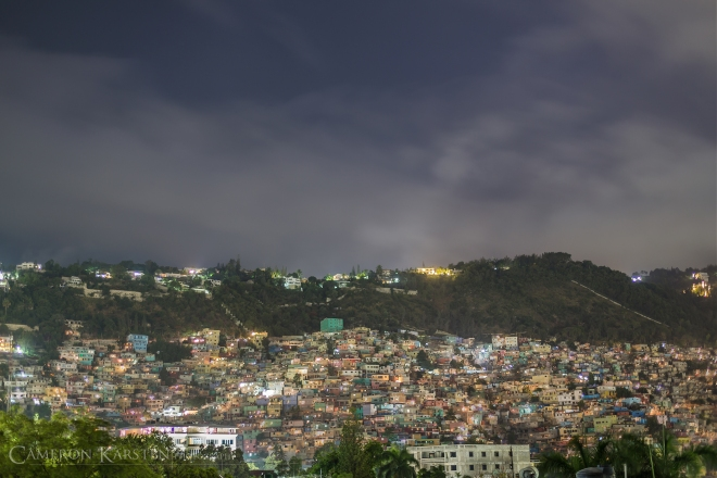 A view of the Port-au-Prince slum Jalousie, just above the affluent neighborhood of Petionville. Visible walls within the slum were painted a rainbow of colors to make the hillside more beautiful for Petionville residents.