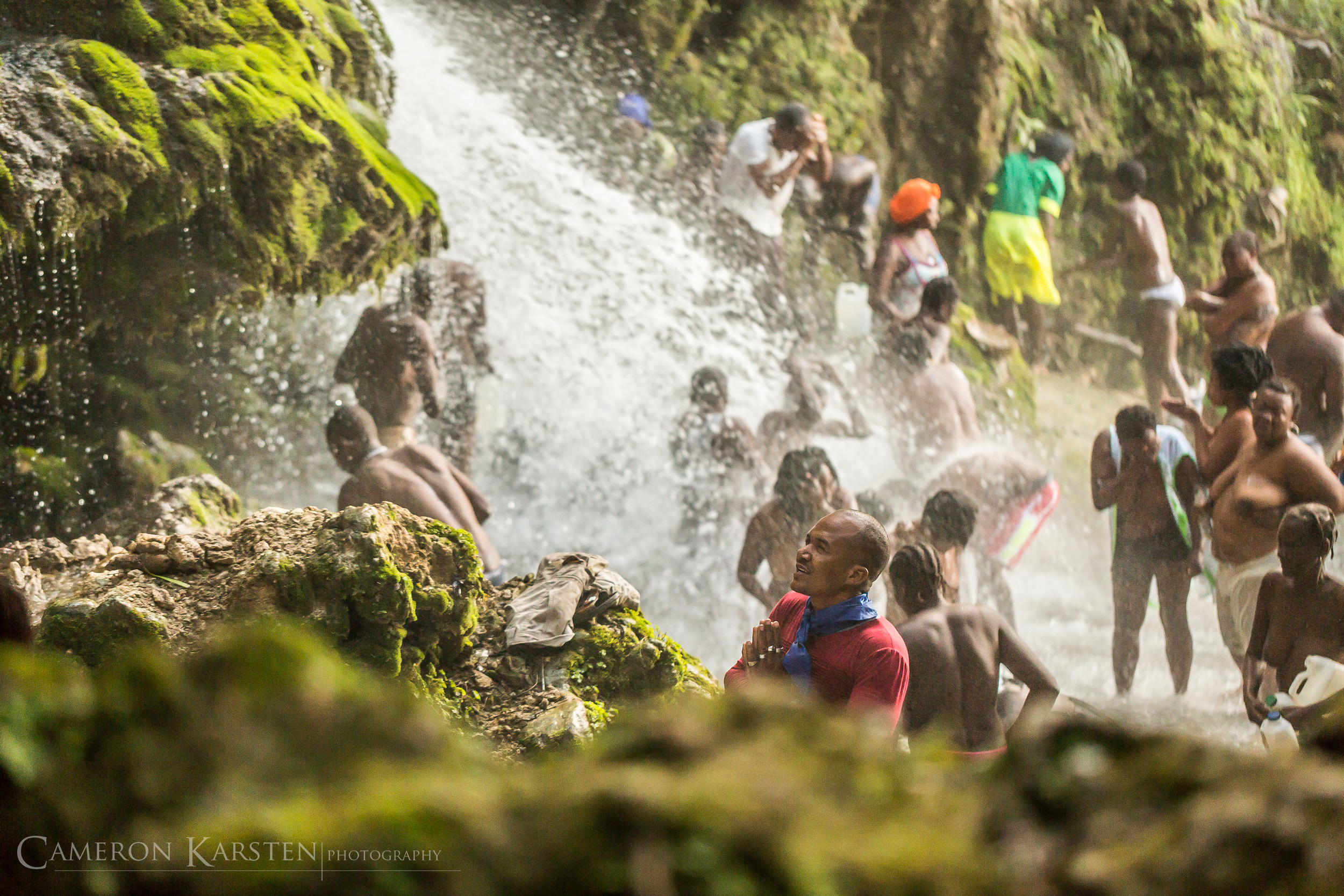 Haitian women bathing naked