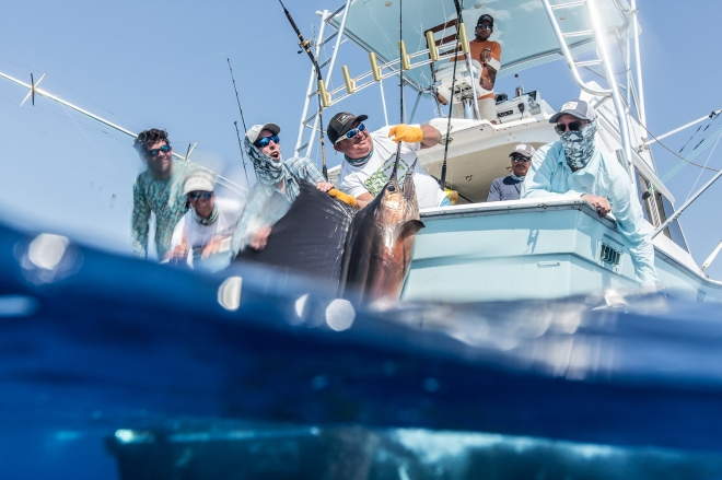 Grundens recreational sportfishing clothing line in Guatemala