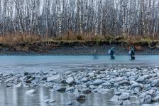 © Cameron Karsten Photography Patagonia flyfishing Ambassador Dylan Tomine throwing flies at the Olympic Peninsula steelhead run in Western Washington