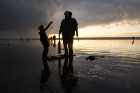 Clam Digging for razor clams in Copalis Beach, WA for The Nature Conservancy