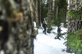 © Cameron Karsten Photography for The Nature Conservancy showshoeing in Washington's Cascade range